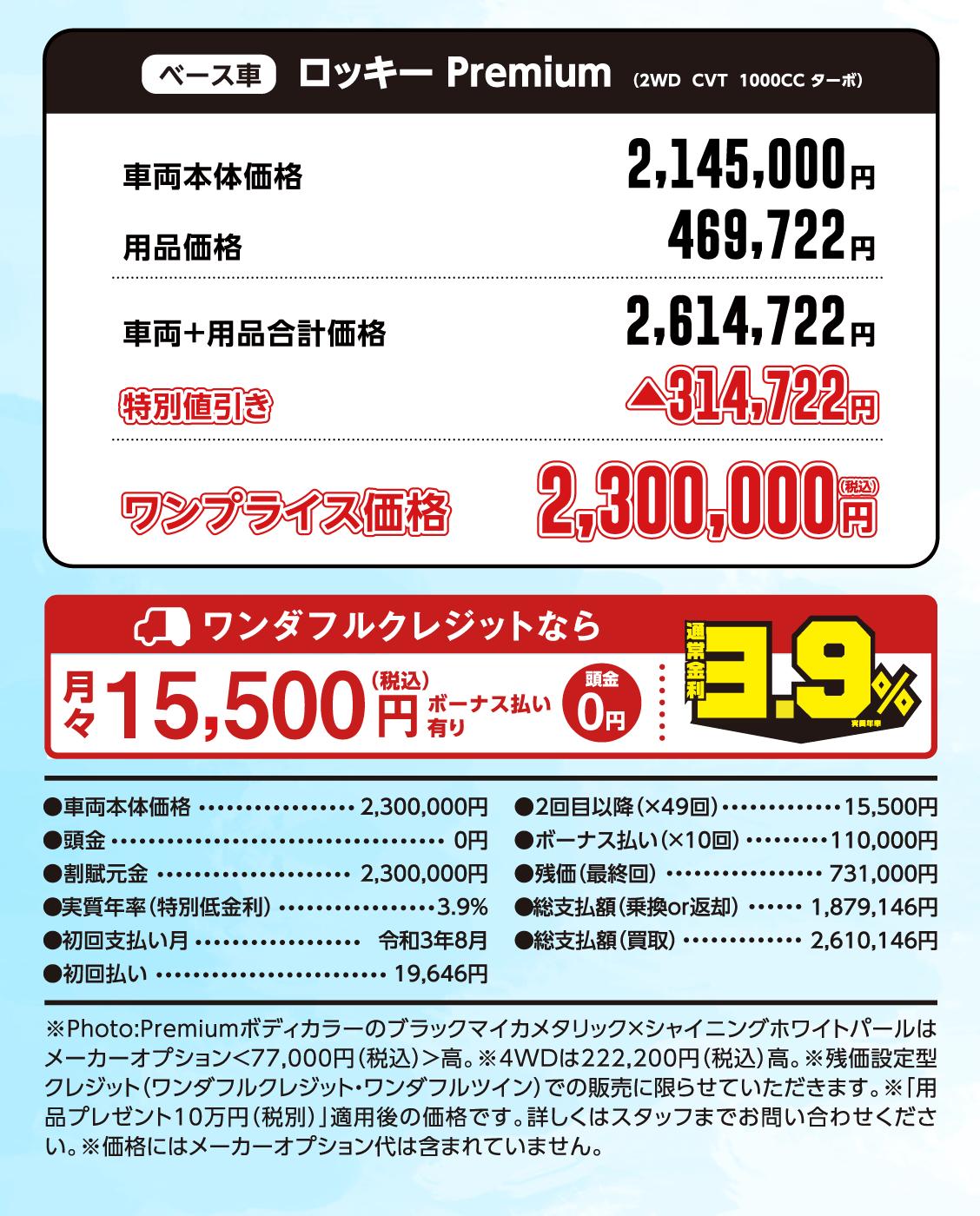 ロッキー Premium エディション ワンプライス価格